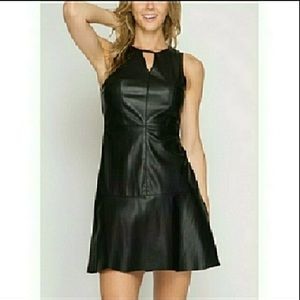 Black Faux Leather Fit and Flare Dress